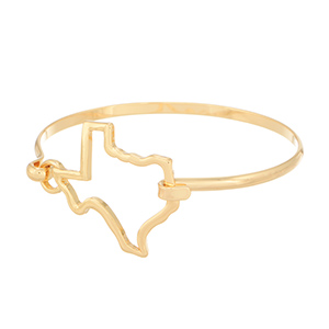 "7"" around gold tone bracelet featuring the outline of the state of Texas"