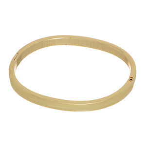 Gold tone stackable bangle bracelet with a side snap closure.