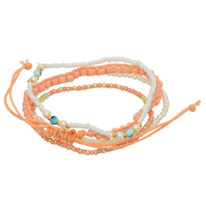 Multiple strand stretch bracelet featuring peach, white, and gold beads with a peach adjustable cord strand.
