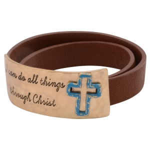 "Brown faux leather wrap bracelet featuring a burnished gold tone plate stamped ""I can do all things through Christ."" Approximately 14"" in length."