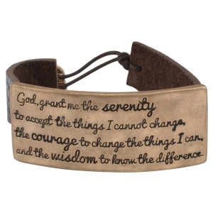 "Brown faux leather bracelet with a burnished gold tone plate stamped with the Serenity Prayer. Approximately 6"" in length."