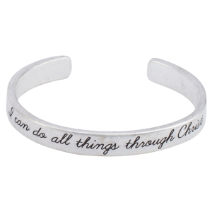 "Worn silver tone cuff bracelet stamped ""I can do all things through Christ""."