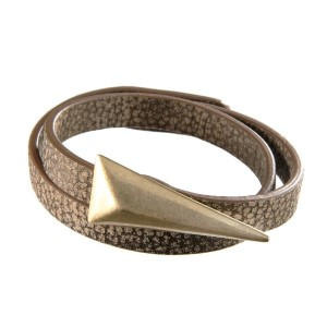 "Worn dark brown leather wrap bracelet with a worn gold tone triangle. Approximately 16"" in length."