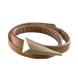 "Brown leather wrap bracelet with a worn gold tone triangle. Approximately 16"" in length."