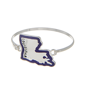 Silver tone latch bangle bracelet with the state of Louisiana outlined in purple.