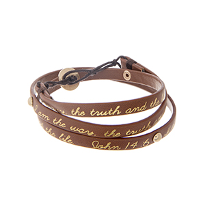 "Brown leather wrap bracelet with gold tone studs stamped ""I am the way, the truth and the life. John 14:6"". Approximately 21 1/4"" in length."