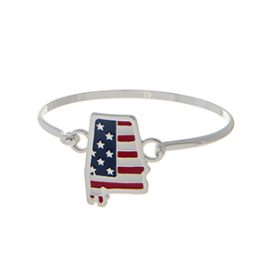 Silver tone latch bangle bracelet with an American flag inspired state of Alabama focal.