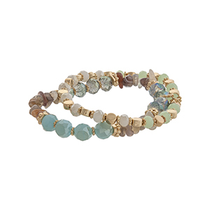 Green, ivory, and blue beaded stretch bracelet with gray chipstone.