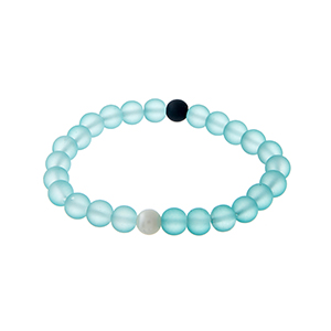 Turquoise beaded stretch bracelet with a single black bead and a single faux pearl.