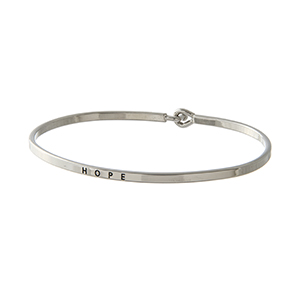 "Silver tone latch bangle bracelet stamped ""HOPE""."