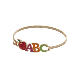 "Gold tone latch bangle bracelet displaying a multicolored ""ABC"" and a red apple. Great teacher appreciation gift!"