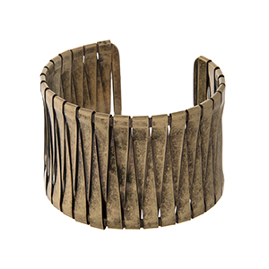 Burnished gold tone wrapped cuff bracelet.