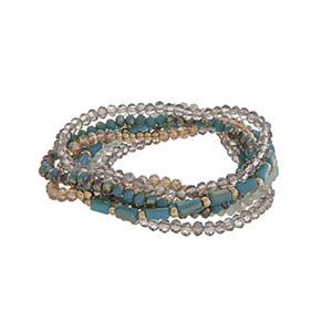 Turquoise, gray, and champagne beaded multiple strand stretch bracelet.