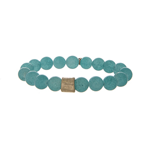 Aqua stone beaded stretch bracelet.
