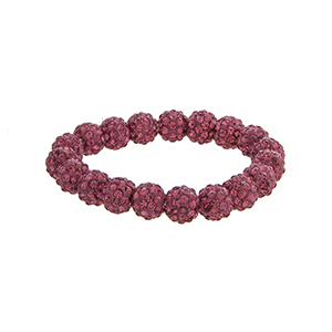 Pave fuchsia beaded stretch bracelet.