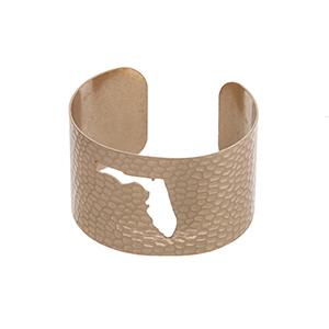 Gold tone hammered Florida state cuff bracelet.