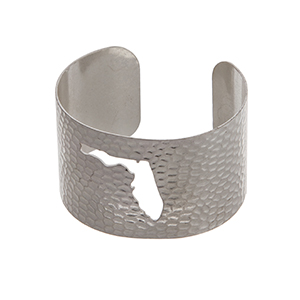 Silver tone hammered Florida state cuff bracelet.