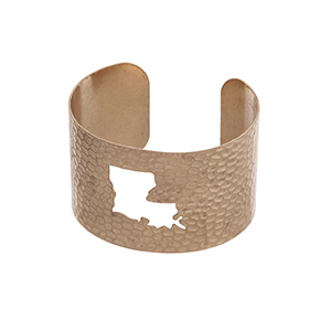 Gold tone hammered Louisiana state cuff bracelet.
