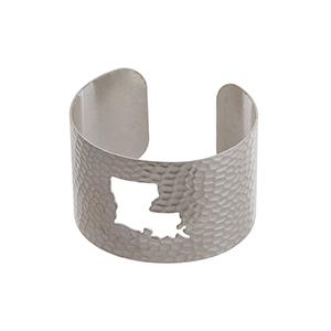 Silver tone hammered Louisiana state cuff bracelet.