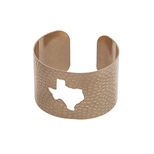 Gold tone hammered Texas state cuff bracelet.