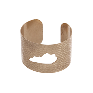 Gold tone hammered Kentucky state cuff bracelet.