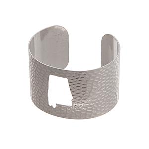 Silver tone hammered Alabama state cuff bracelet.