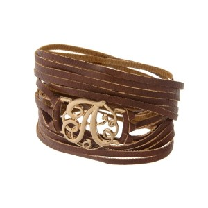 """Brown faux leather wrap bracelet with a gold tone 'A' initial focal. Approximately 22"""" in length."""