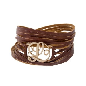 """Brown faux leather wrap bracelet with a gold tone 'L' initial focal. Approximately 22"""" in length."""
