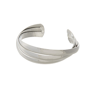 Adjustable silver tone cuff bracelet.