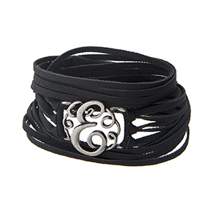 Black faux leather wrap bracelet displaying a silver tone letter 'E' and a snap closure.