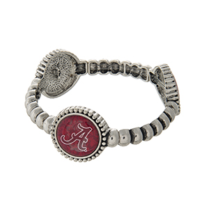 Officially licensed silver tone  University of Alabama stretch bracelet with three stations. Our exclusive design.