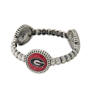 Officially licensed silver tone  University of Georgia stretch bracelet with three stations. Our exclusive design.