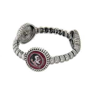 Officially licensed silver tone Florida State University stretch bracelet with three stations. Our exclusive design.