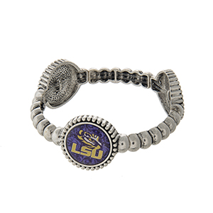Officially licensed silver tone LSU stretch bracelet with three stations. Our exclusive design.