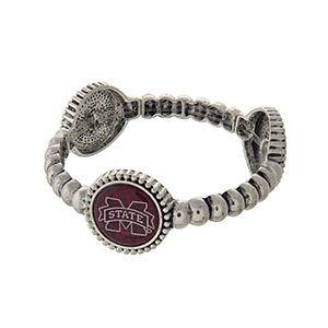 Officially licensed silver tone Mississippi State University stretch bracelet with three stations. Our exclusive design.