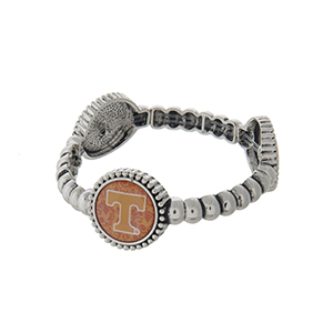 Officially licensed silver tone  University of Tennessee stretch bracelet with three stations. Our exclusive design.
