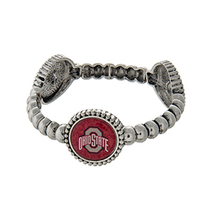 Officially licensed silver tone Ohio State University  stretch bracelet with three stations. Our exclusive design.