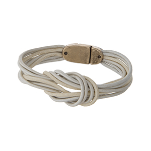 Ivory genuine leather magnetic bracelet displaying a loop knot.