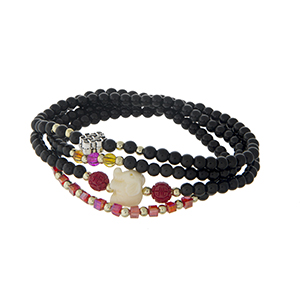 Black beaded stretch wrap bracelet with an ivory elephant.