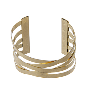 Matte gold tone adjustable cuff bracelet.