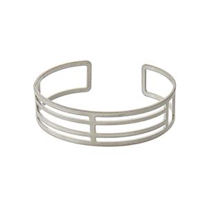 Matte silver tone open cuff bracelet.