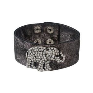 "Gunmetal faux leather snap bracelet with a pave rhinestone elephant. Approximately 8"" in length."