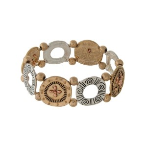 Two tone stretch bracelet with stamped discs.