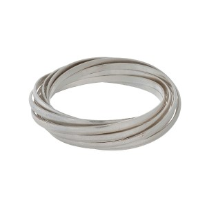 Matte silver tone twisted bangle bracelet.