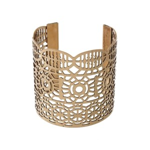 "Gold cuff bracelet with laser cut outs. Approximately 2.5"" in width."