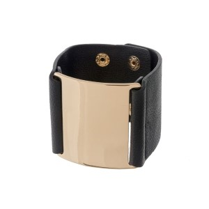 Black faux leather snap bracelet with a gold tone metal focal.