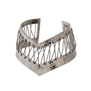 Burnished silver tone pointed cuff bracelet.