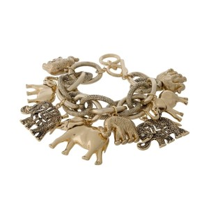 Gold tone link statement bracelet with elephant charms and a toggle closure.