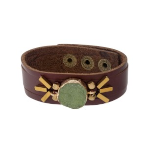 Brown faux leather snap bracelet with a green druzy stone focal.