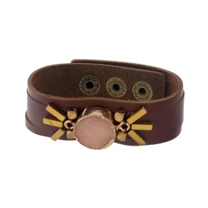 Brown faux leather snap bracelet with a peach druzy stone focal.